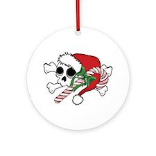 Cute Santa Skull Ornament (Round)