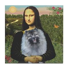 Mona Lisa / Keeshond (F) Tile Coaster