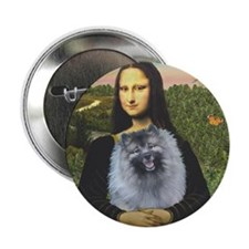 "Mona Lisa / Keeshond (F) 2.25"" Button"
