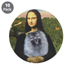 "Mona Lisa / Keeshond (F) 3.5"" Button (10 pack)"