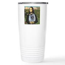 Mona Lisa / Keeshond (F) Thermos Mug