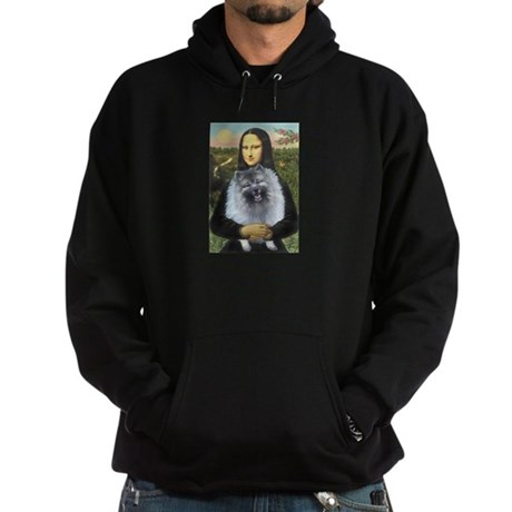 Mona Lisa / Keeshond (F) Hoodie (dark)