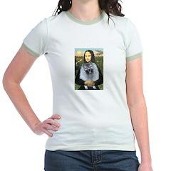 Mona Lisa / Keeshond (F) Jr. Ringer T-Shirt