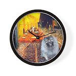 Cafe / Keeshond (F) Wall Clock