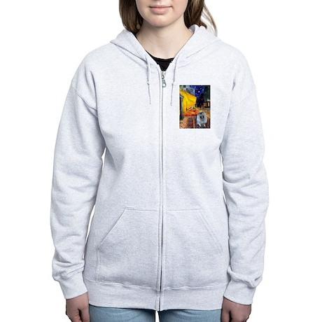 Cafe / Keeshond (F) Women's Zip Hoodie