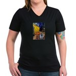 Cafe / Keeshond (F) Women's V-Neck Dark T-Shirt