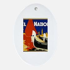 Vintage Luggage Labels Oval Ornament