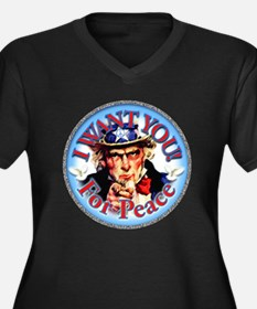 Uncle Sam Wants You Women's Plus Size V-Neck Dark