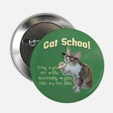 """Cat School with Daisy 2.25"""" Button"""