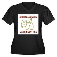 Cute Animal abuse Women's Plus Size V-Neck Dark T-Shirt