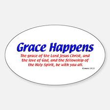 Grace Happens Oval Bumper Stickers