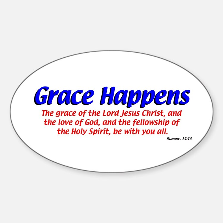 Grace Happens Oval Decal