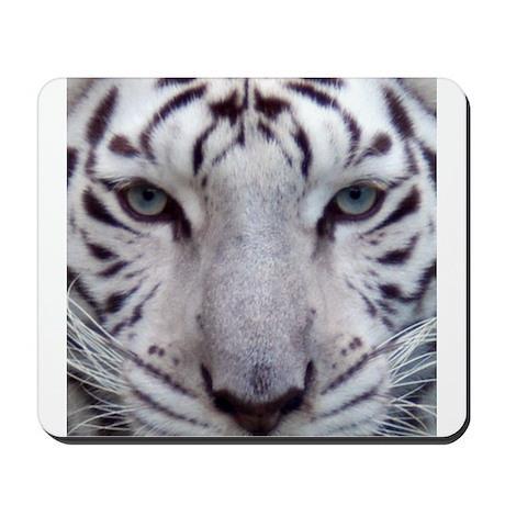 White Tiger Face Square Photo Mousepad