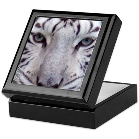 White Tiger Face Square Photo Keepsake Box