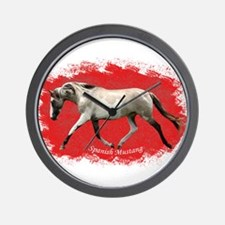 Red Multi-colored filly Wall Clock