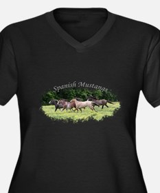 Running Geldings Women's Plus Size V-Neck Dark T-S