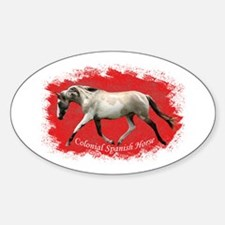 Red Multi-colored filly Oval Decal