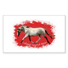 Red Multi-colored filly Rectangle Decal