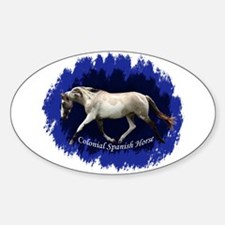 Blue Mulit-colored filly Oval Decal