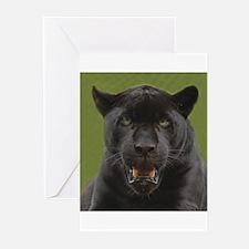 Black Jaguar Square Photo Greeting Cards (Package