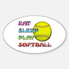 Eat Sleep Play Softball 3 Oval Decal