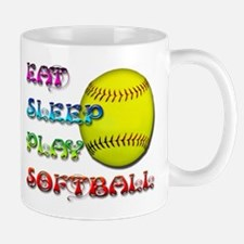 Eat Sleep Play Softball 3 Mug
