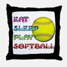 Eat Sleep Play Softball 3 Throw Pillow