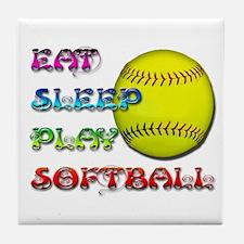 Eat Sleep Play Softball 3 Tile Coaster
