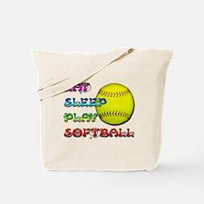 Eat Sleep Play Softball 3 Tote Bag