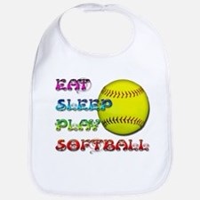 Eat Sleep Play Softball 3 Bib