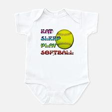 Eat Sleep Play Softball 3 Infant Bodysuit
