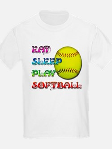 Eat Sleep Play Softball 3 T-Shirt