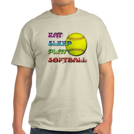 Eat Sleep Play Softball 3 Light T-Shirt