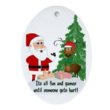 Reindeeer Games Oval Ornament