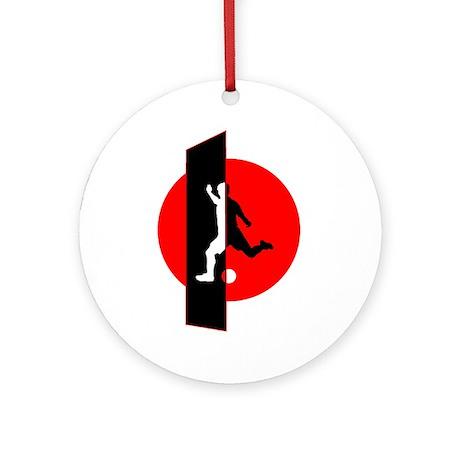 Modern Soccer Red White Black Ornament (Round)