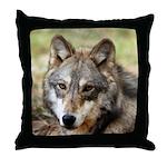 Grey Wolf Square Photo Throw Pillow