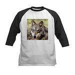 Grey Wolf Square Photo Kids Baseball Jersey