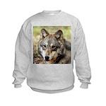 Grey Wolf Square Photo Kids Sweatshirt