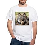 Grey Wolf Square Photo White T-Shirt