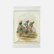 Three Roosters on Bicycles Rectangle Magnet