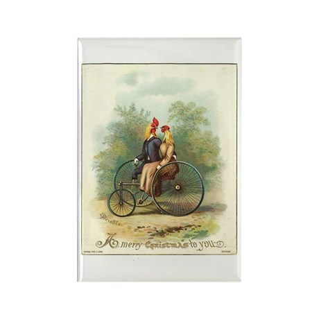 Sociable Chickens on Bicycle Rectangle Magnet