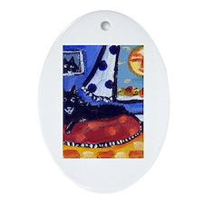 Schipperke smiling sun Oval Ornament