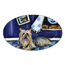 SILKY Terrier art items Oval Decal
