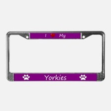 Purple I Love My Yorkies License Plate Frame