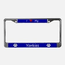 Blue I Love My Yorkies License Plate Frame