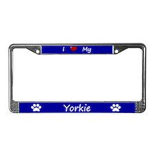 Blue I Love My Yorkie License Plate Frame