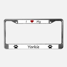 White I Love My Yorkie License Plate Frame