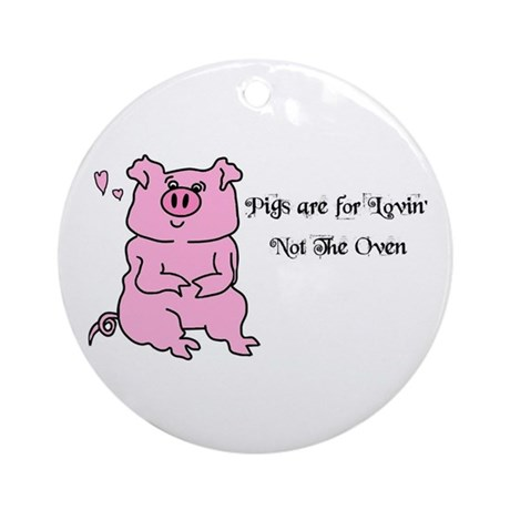 HAPPY BIRTHDAY CUTE PINK PIG Ornament (Round)