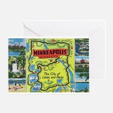 1940's City of Lakes and Parks Greeting Card