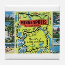 1940's City of Lakes and Parks Tile Coaster